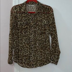 SHEER CHEETAH PRINT BUTTON DOWN TOP BY OLD NAVY